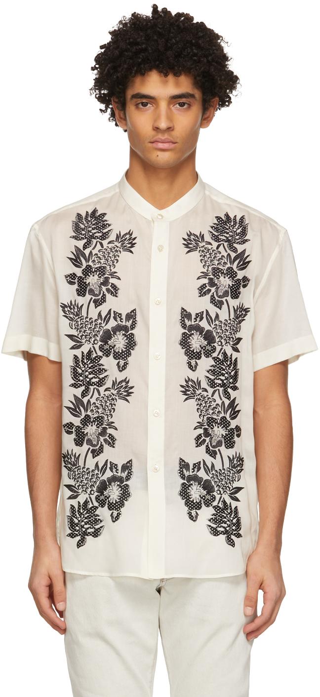 Saint Laurent 灰白色 Tunic 刺绣短袖衬衫