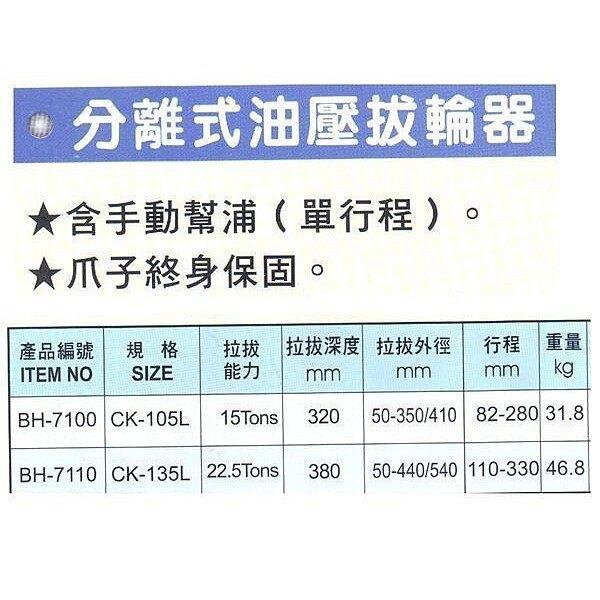 黑手牌 分離式油壓拔輪器 BH-7100 BH-7110 CK-105L【璟元五金】