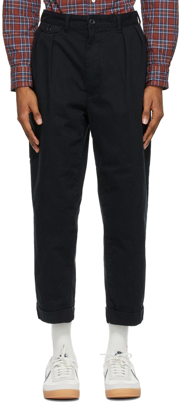 BEAMS PLUS 黑色 Two-Pleats 长裤