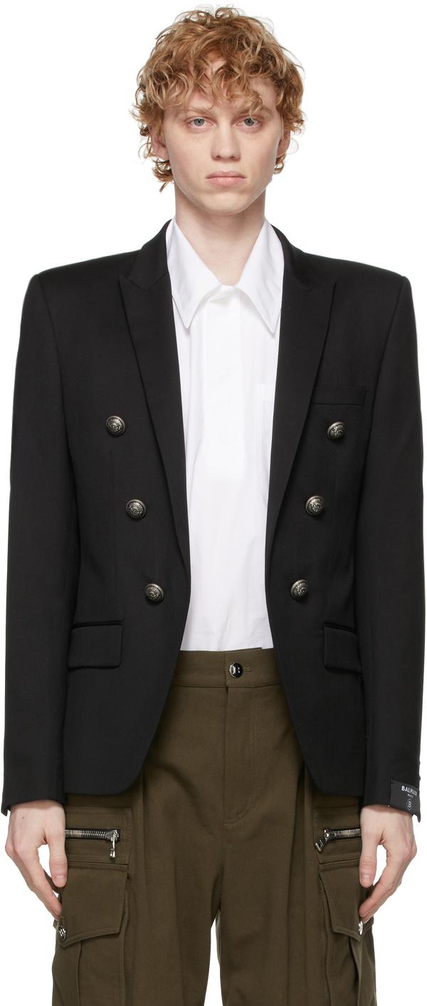 Balmain 黑色羊毛双排扣西装外套