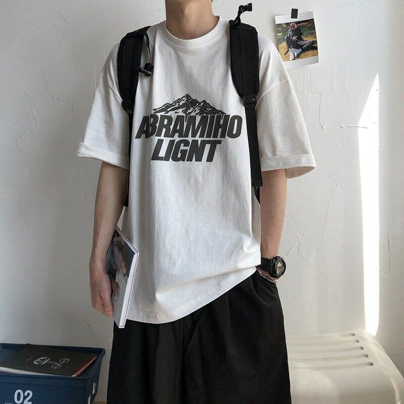 純棉男式短袖T恤港風潮流寬鬆印花男士短袖t恤直播男裝