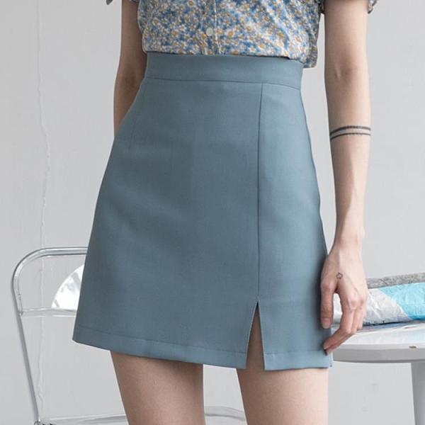 EGGKA藍色西裝短裙女夏季a字高腰開叉半身裙不規則復古顯瘦包臀裙 【4·4超級品牌日】