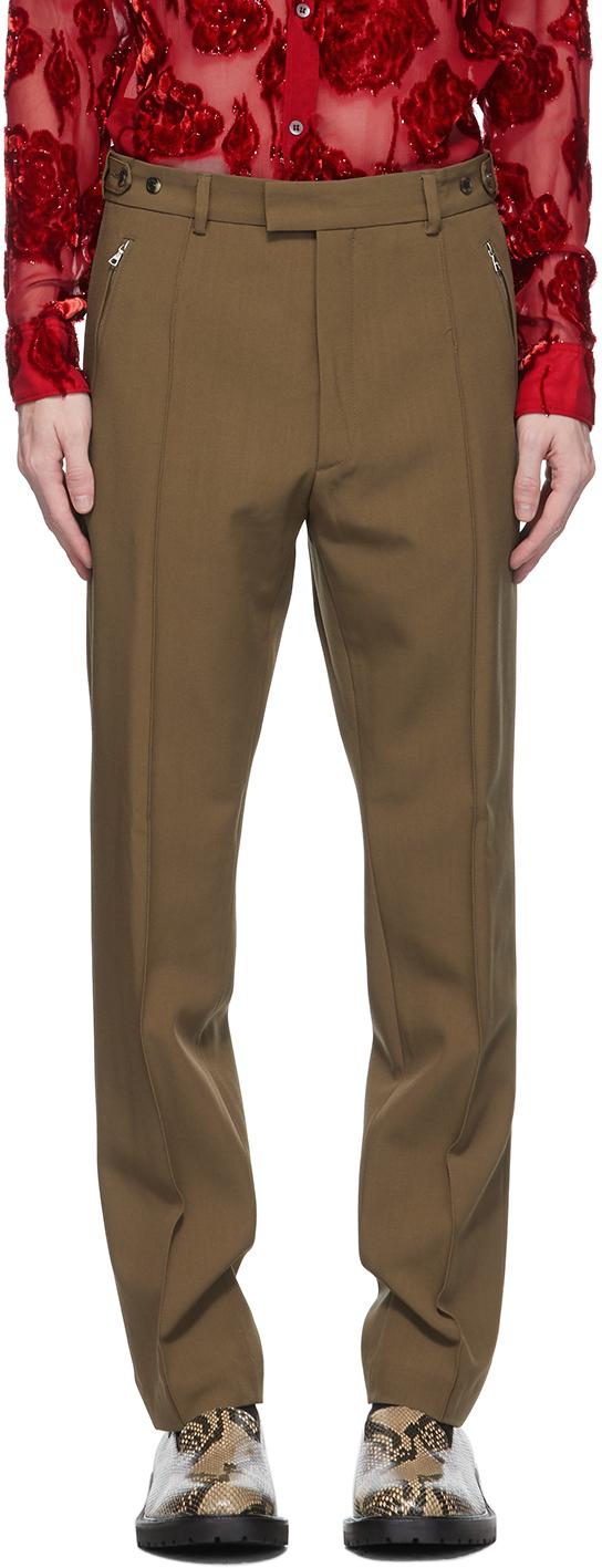Dries Van Noten 黄褐色羊毛拉链长裤