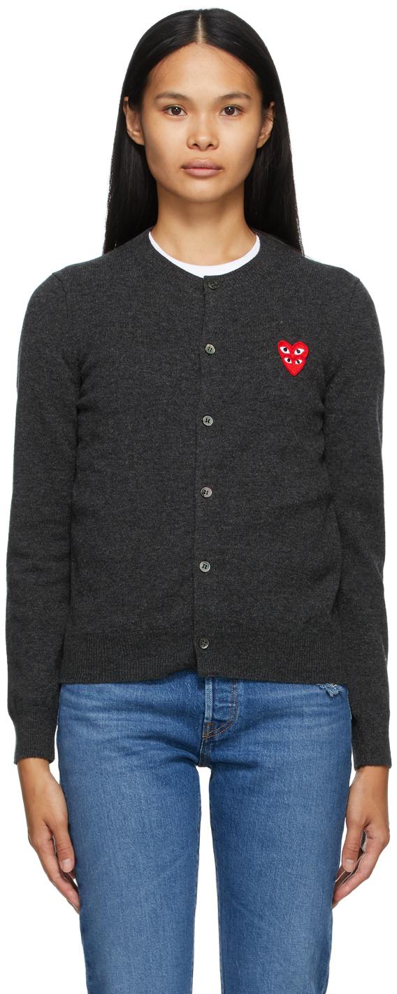 Comme des Garçons Play 灰色 Layered Double Heart 羊毛开衫