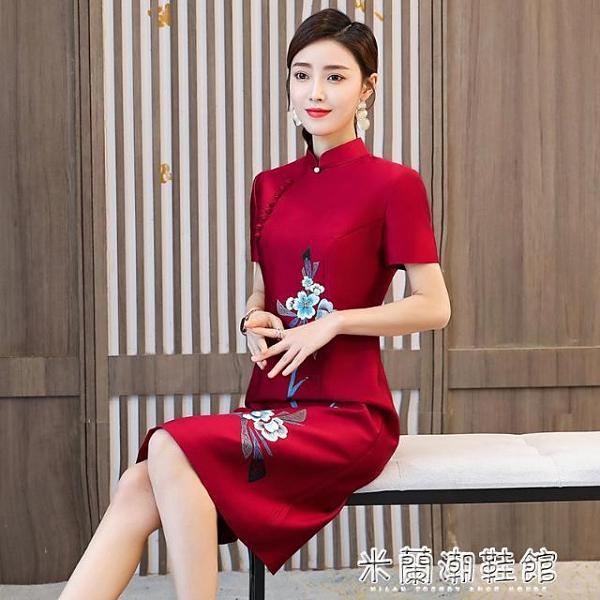 中國風洋裝 改良旗袍連衣裙仿真絲2021夏季新款日常中國風刺繡復古新式旗袍裙 快速出貨
