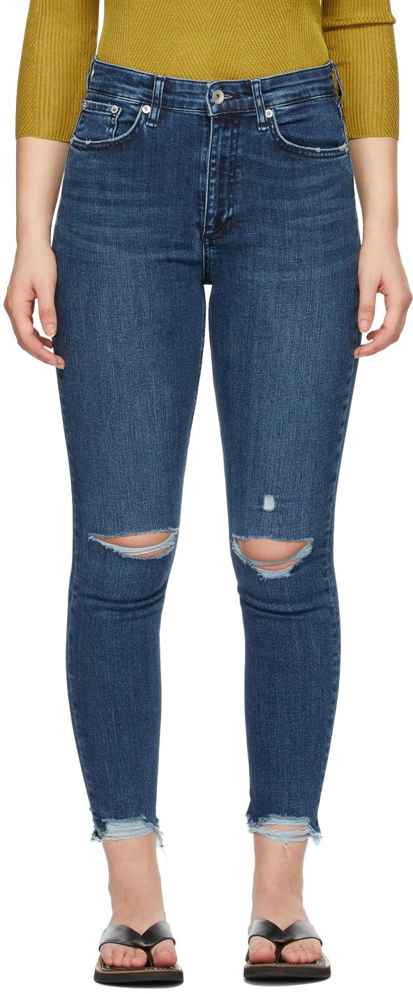 Rag & Bone 靛青色 Nina High-Rise Ankle Skinny 牛仔裤