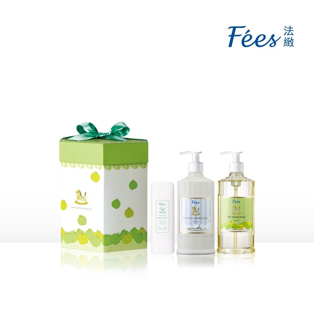 Fees法緻 蘋果彌月禮盒 嬰兒柔護洗髮沐浴精300ml+嬰兒滋潤保濕乳液300ml+嬰兒爽身乳霜75ml