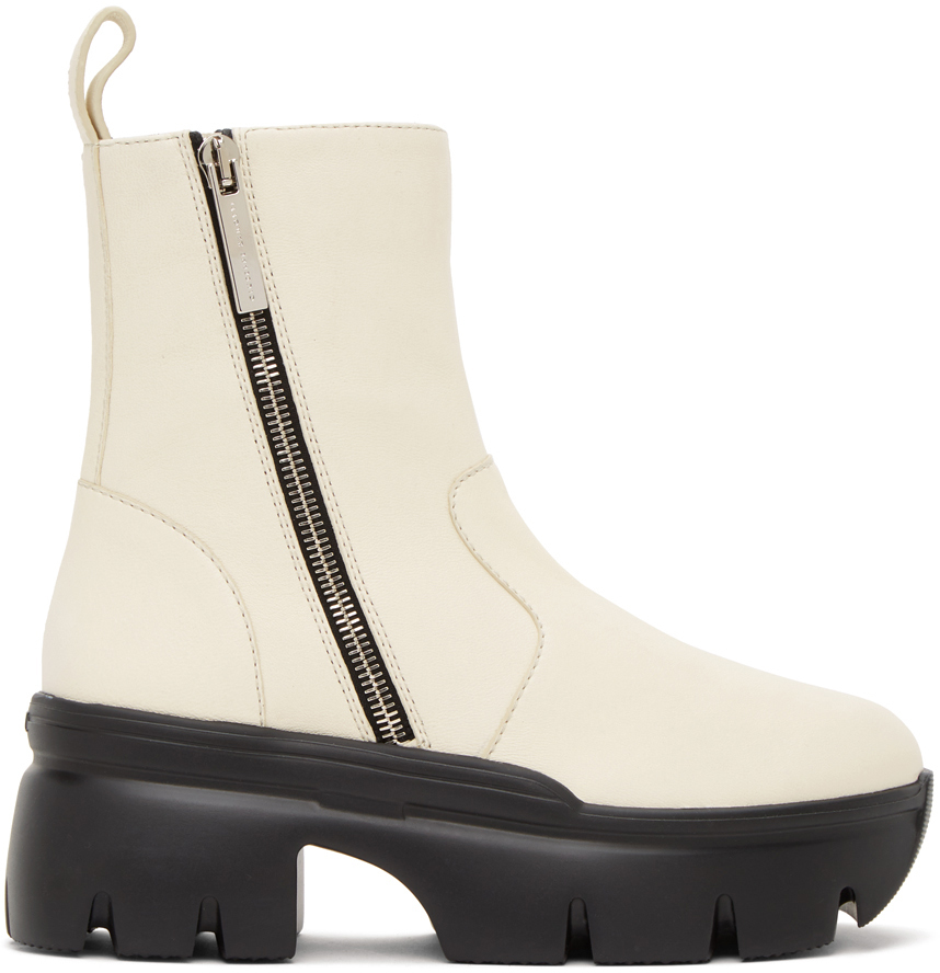 Giuseppe Zanotti 白色 Apocalypse 拉链踝靴