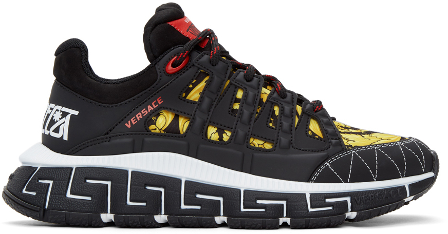 Versace 黑色 & 黄色 Trigreca 运动鞋