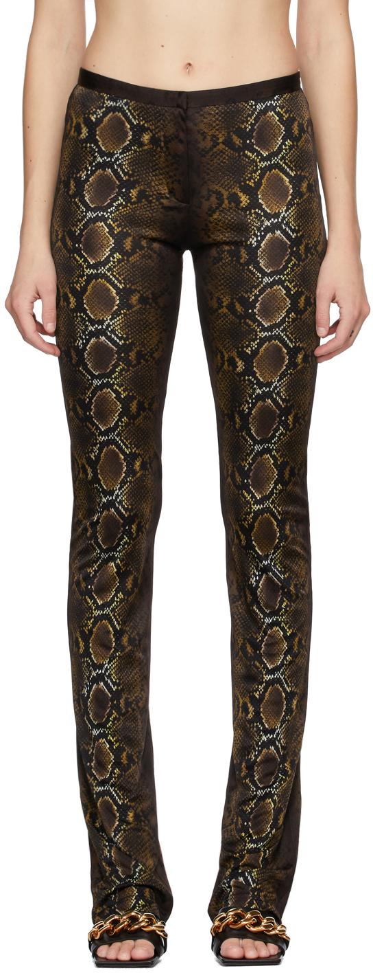 Versace 棕色蟒蛇纹印花长裤