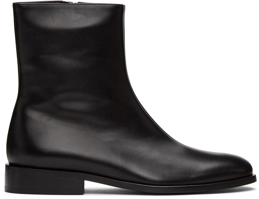 Dries Van Noten 黑色皮革踝靴