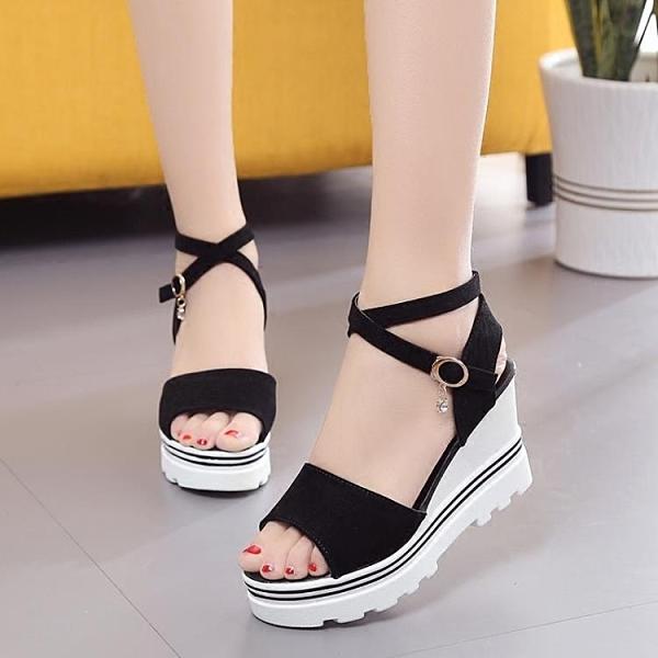 2021夏季韓版坡跟高跟羅馬鞋厚底學生涼鞋女交叉鬆糕底防水臺女鞋