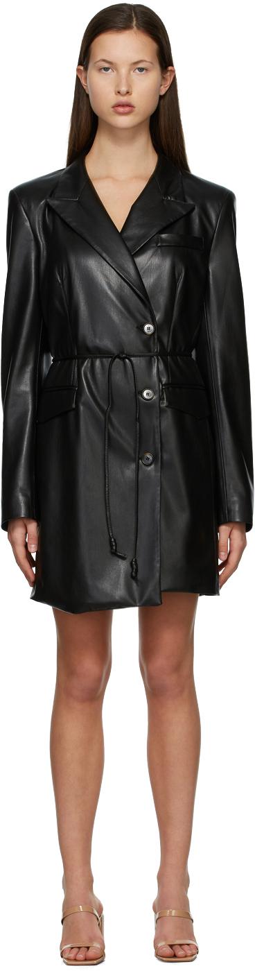 Nanushka 黑色 Remi 纯素皮革连衣裙