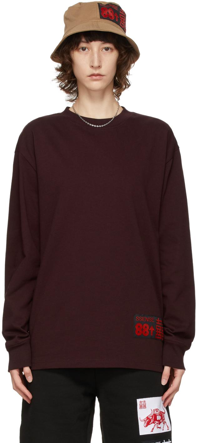SSENSE WORKS SSENSE 独家发售 88rising 系列酒红色 Ox 有机棉长袖 T 恤