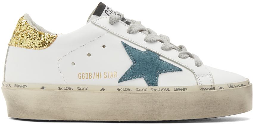 Golden Goose 白色 Hi Star 亮片运动鞋
