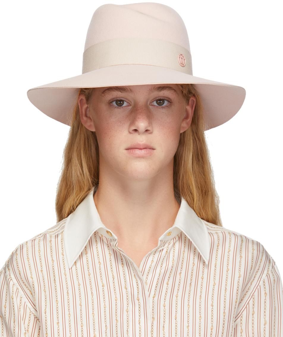 Maison Michel 粉色 Virginie 毛毡绅士帽