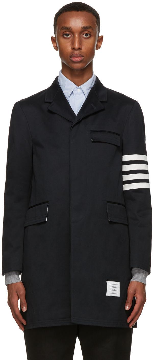 Thom Browne 海军蓝 4-Bar 大衣