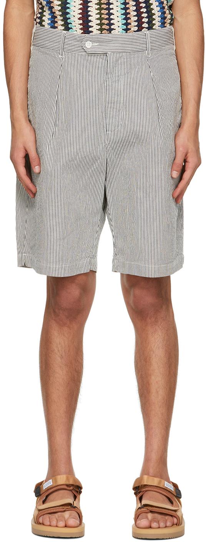 Engineered Garments 海军蓝 & 白色 Sunset 条纹短裤