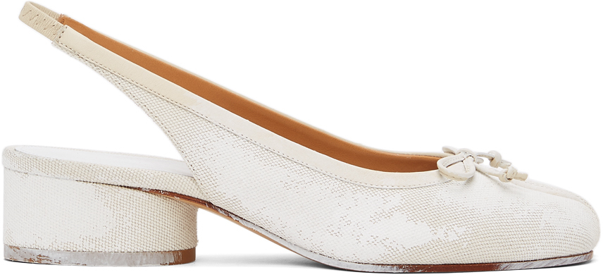 Maison Margiela 白色 Tabi 涂绘后系带中跟鞋