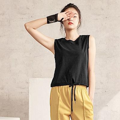 台灣製棉質縮腰抽繩無袖上衣-OB大尺碼
