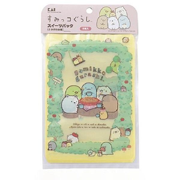 小禮堂 角落生物 日製 直式方形透明夾鏈袋組 塑膠分裝袋 (5入 綠 蘋果樹) 4901601-17568