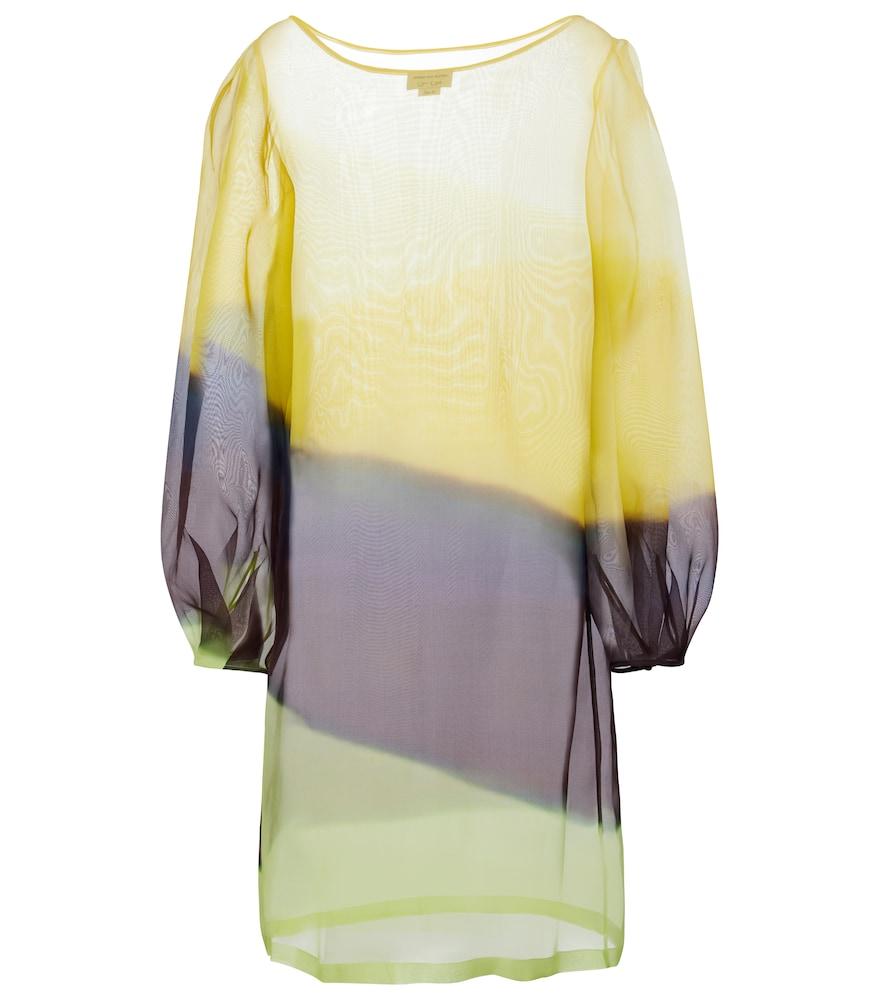 Striped silk organza midi dress