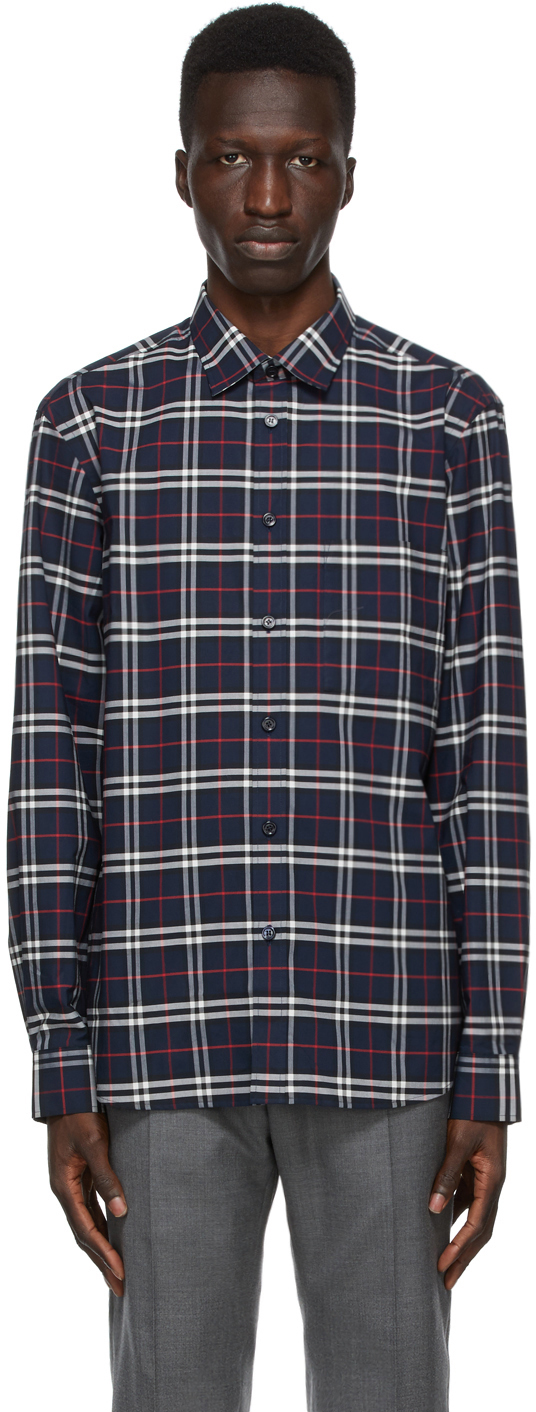 Burberry 海军蓝 Simpson 格纹衬衫