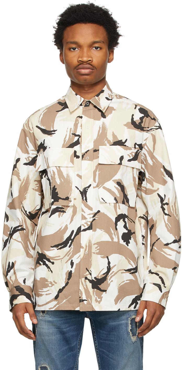 Kenzo 驼色 Tropic 迷彩夹克衬衫