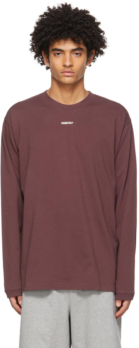 Ambush SSENSE 独家发售酒红色 XL Logo 长袖 T 恤
