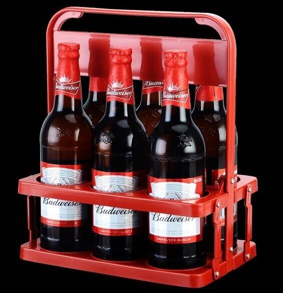 啤酒塑料提籃便攜式提藍可折疊酒架KTV6瓶裝提子手提框紅酒筐杯架 【4-4超級品牌日】