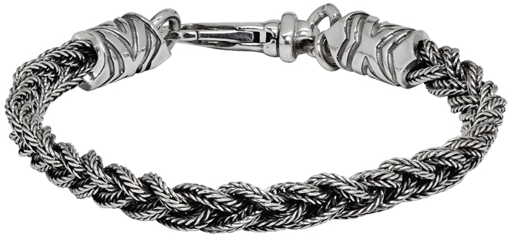 Emanuele Bicocchi 银色 Tiny Braided 手链