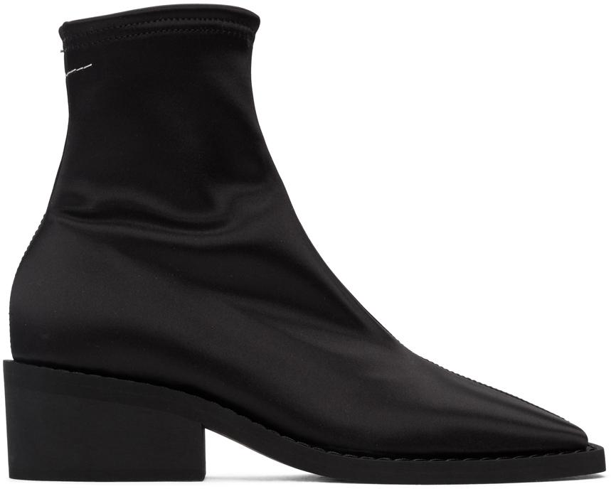 MM6 Maison Margiela 黑色缎面踝靴