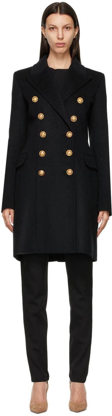 Balmain 黑色双排扣大衣