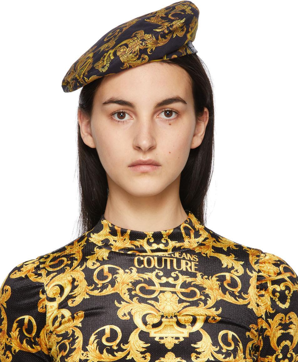 Versace Jeans Couture 黑色 & 金色 New Logo Baroque 贝雷帽