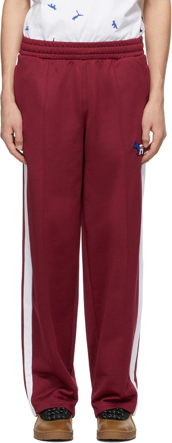 Maison Kitsuné 酒红色 Puma 联名 T7 运动裤