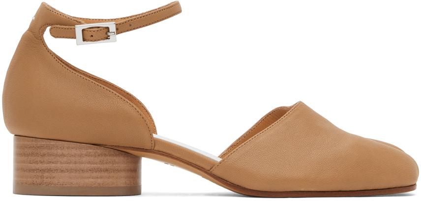 Maison Margiela 黄褐色 Tabi 踝带低跟鞋