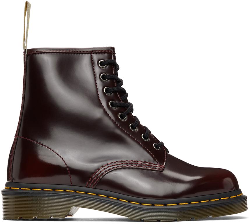 Dr. Martens 酒红色 1460 纯素皮革踝靴
