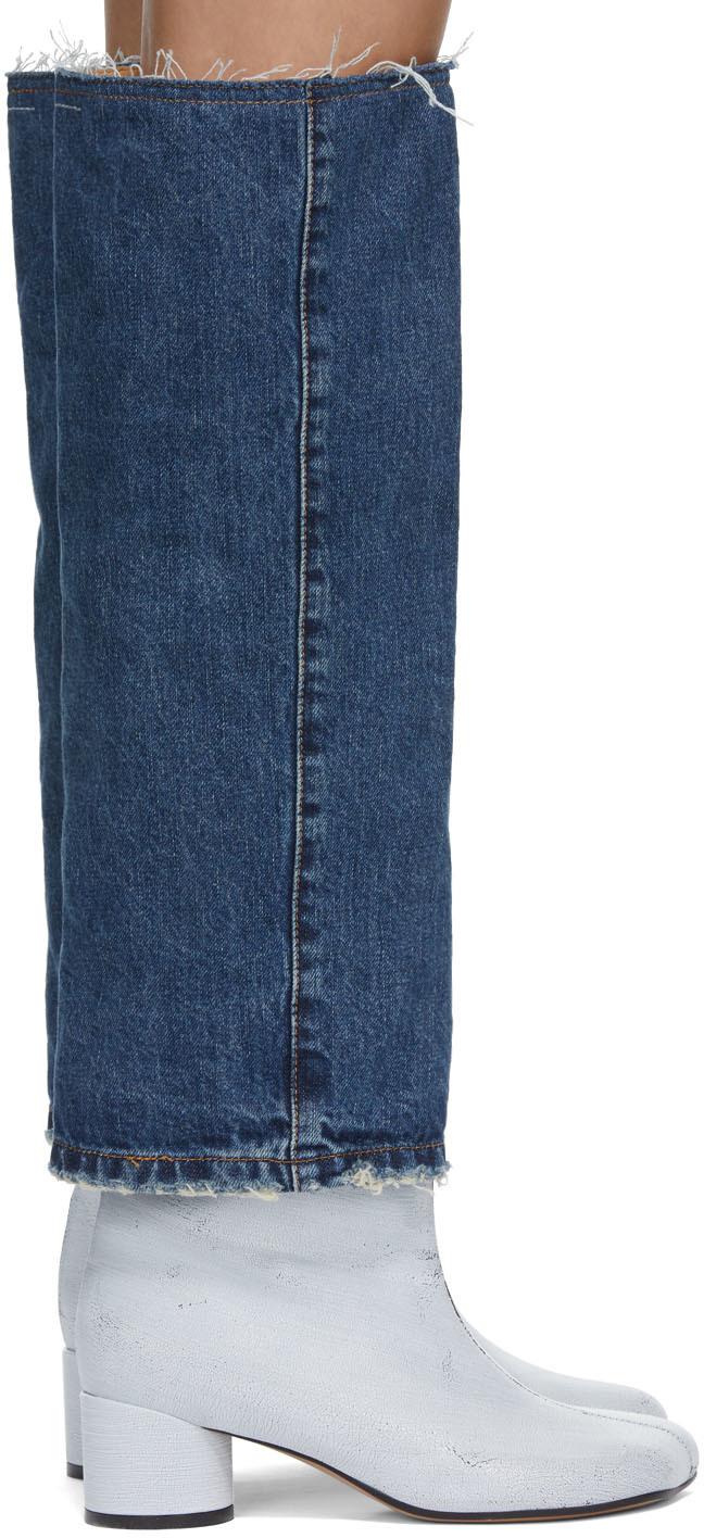 MM6 Maison Margiela 靛蓝色 & 白色 Denim Top 涂绘中筒靴