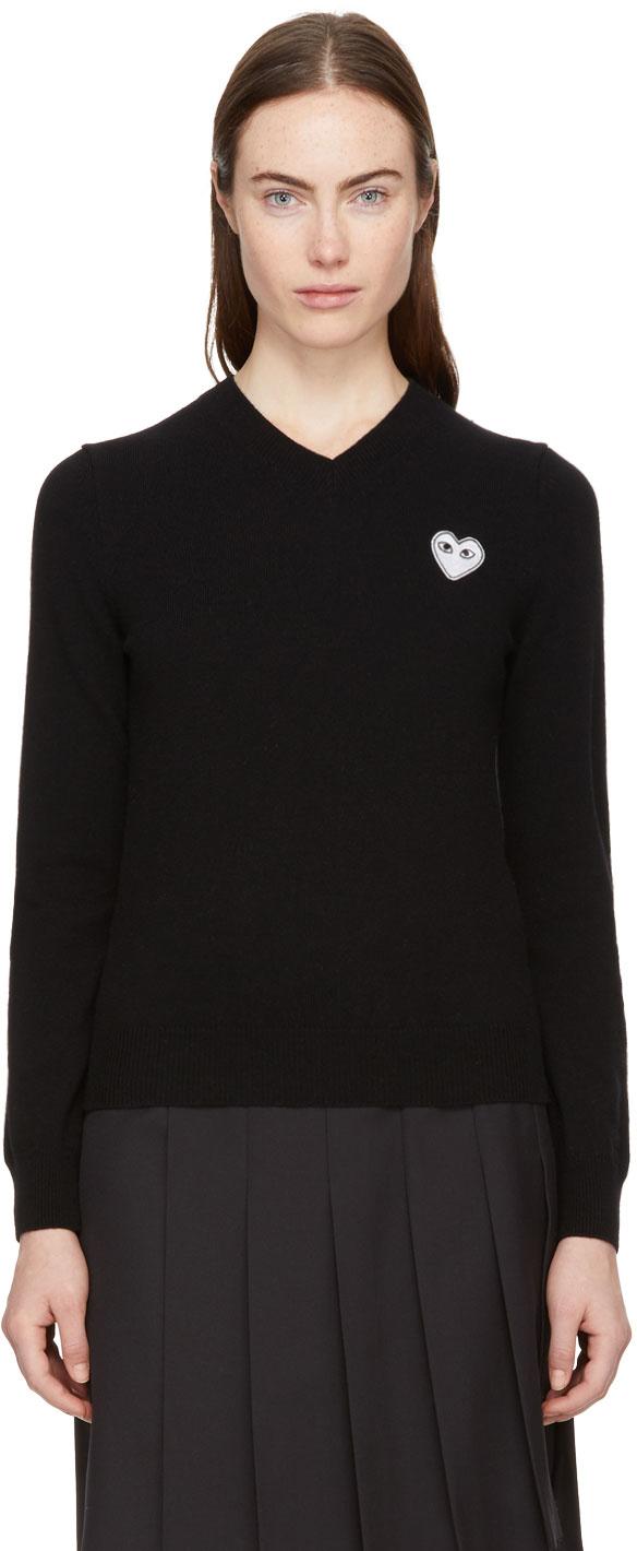 Comme des Garçons Play 黑色 Heart Patch V 领毛衣