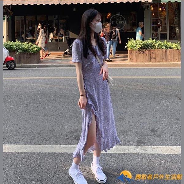 開衩碎花連衣裙女夏2021新款法式復古修身顯瘦不規則荷葉邊茶歇裙【勇敢者】