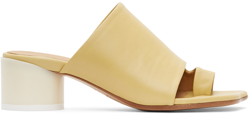 MM6 Maison Margiela 黄色皮革穆勒鞋