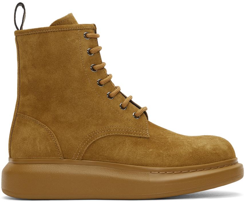 Alexander McQueen 驼色绒面革系带靴