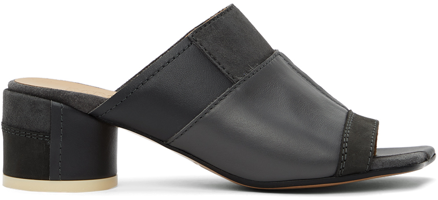 MM6 Maison Margiela 灰色拼接穆勒鞋