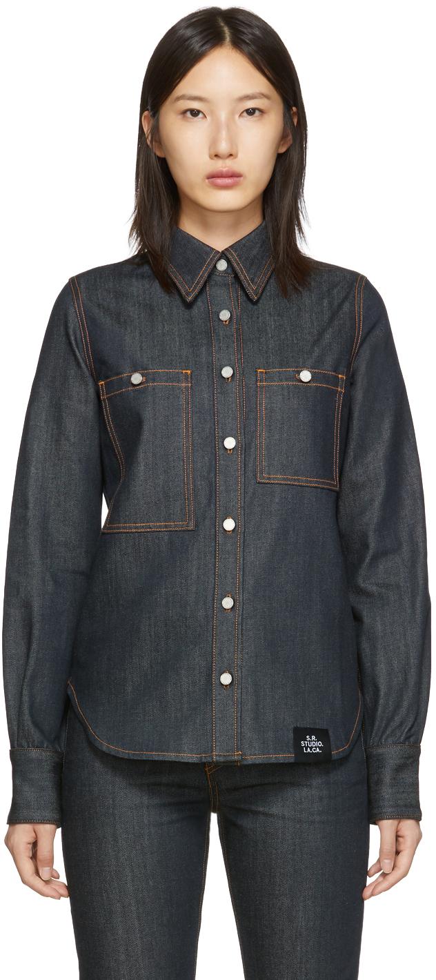 S.R. STUDIO. LA. CA. 靛蓝色 Unlimited 大廓形牛仔衬衫