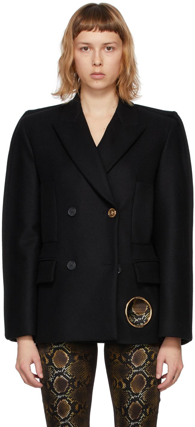 Versace 黑色初剪羊毛双排扣大衣