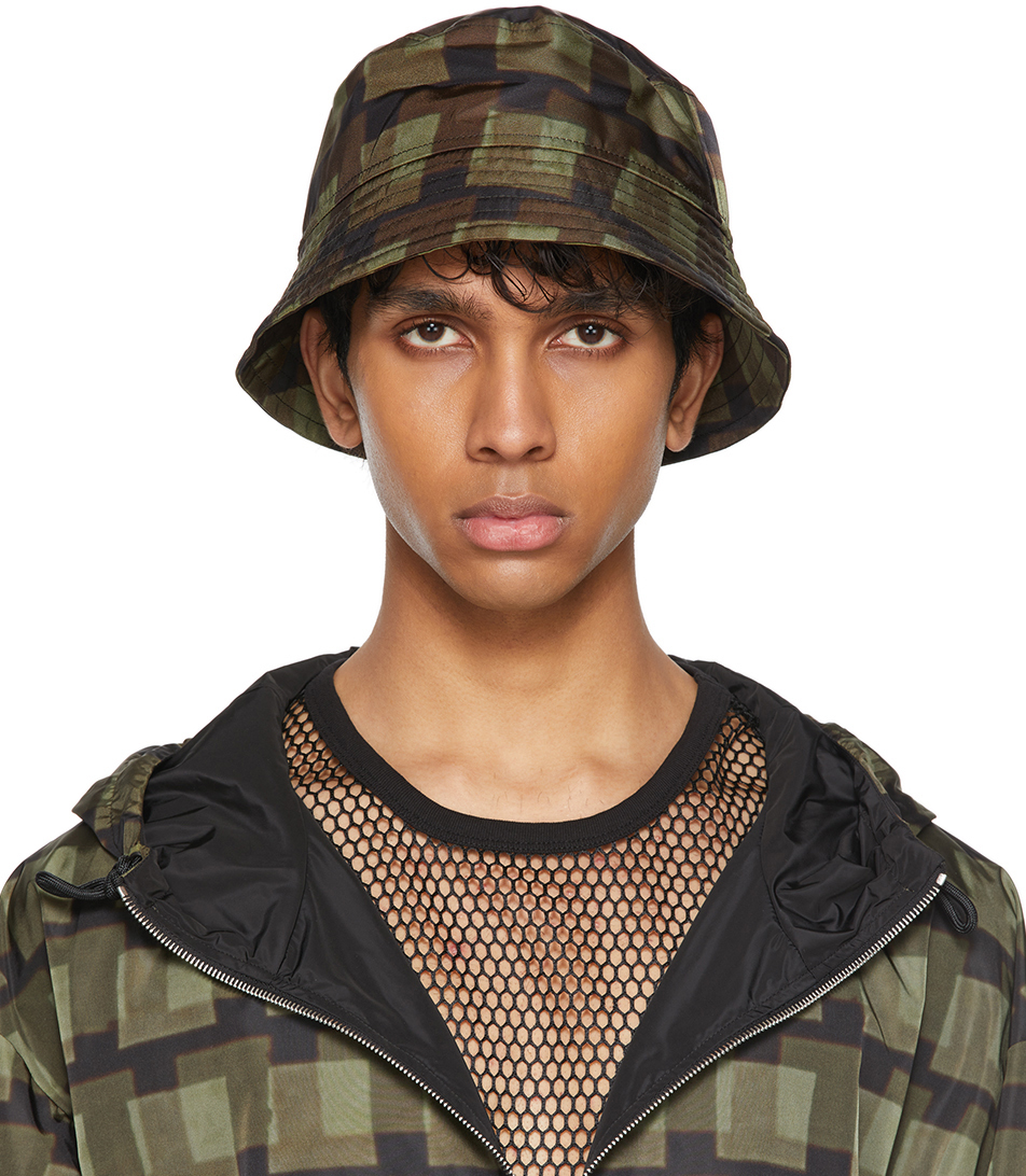 Dries Van Noten 军绿色 Len Lye 联名图案渔夫帽