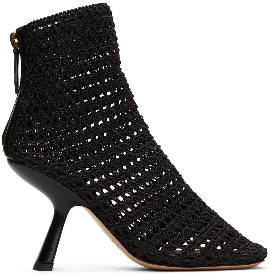 Nicholas Kirkwood 黑色 Alba Macramé 高跟踝靴