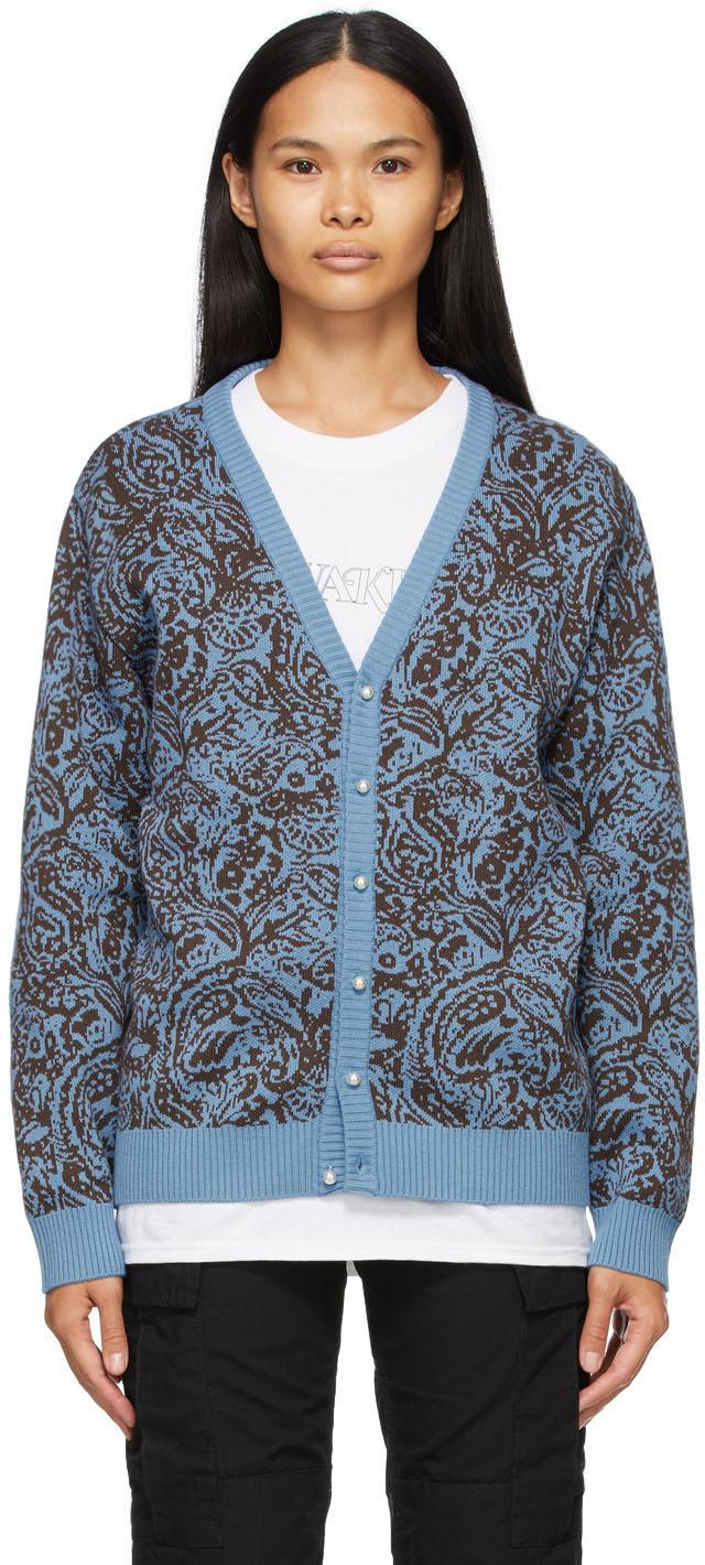 Awake NY 蓝色 & 棕色 Paisley 开衫