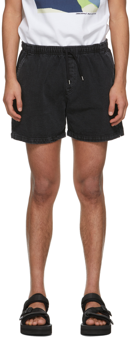 Schnayderman's SSENSE 独家发售黑色成衣染色牛仔短裤