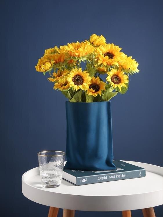 北歐藝術褶皺花瓶陶瓷簡約莫蘭迪客廳插花干花玄關餐桌家居裝飾品 果果輕時尚